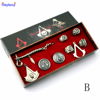 Tobyfancy Animation Assassins Creed Necklace Set Black Flag Rings+Necklace Boxed Figures Toys