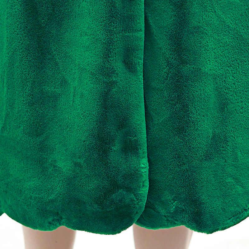 Nerazzurri Lange faux pelz mantel frauen 2019 winter feste Stehkragen lose grün schwarz rosa plüsch oberbekleidung plus größe 5XL 6XL 7XL