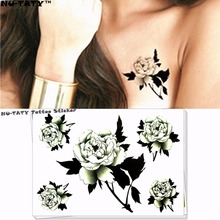 Nu-TATY Sexy White Roses Temporary Tattoo Body Art Flash Tattoo Stickers 17x10cm Waterproof Fake Tatoo Car Styling Wall Sticker