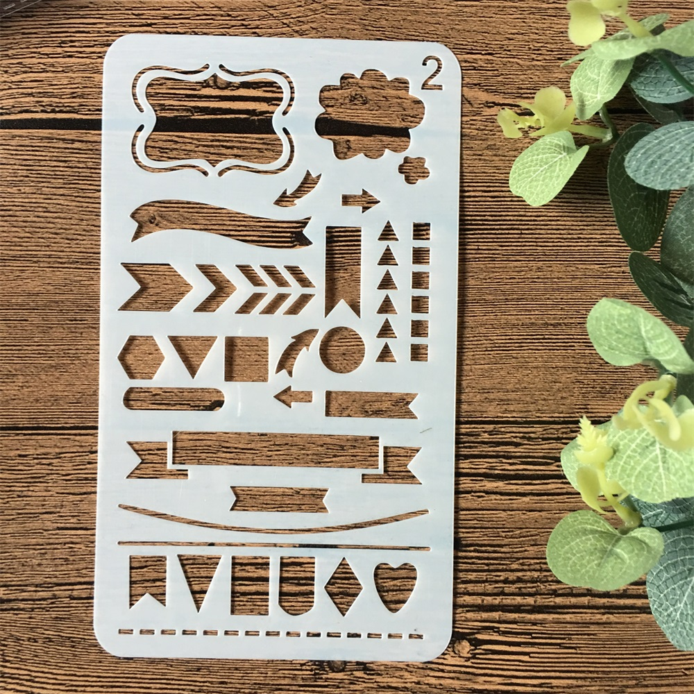 1Pcs A6 Geometry Flag 02 DIY Craft Layering Stencils Wall Painting Scrapbooking Stamping Embossing Album Paper Card Template