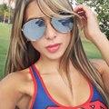 Mirror Oversized Sunglasses Men or Women Flat Top Trend Korea Brand Designer Luxury Cool Point UV400 Sun Glasses Male