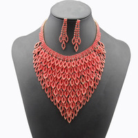 New Fashion Red / Silver Necklace Austrian Crystal Earrings Set For Women Wedding Party Jewelery Pendiente Del Collar #N076
