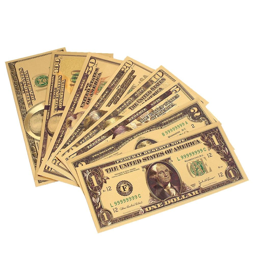Gold /& Green Colorized Money 1,2,5,10,20,50,100 US Dollar Bills Lot of 7