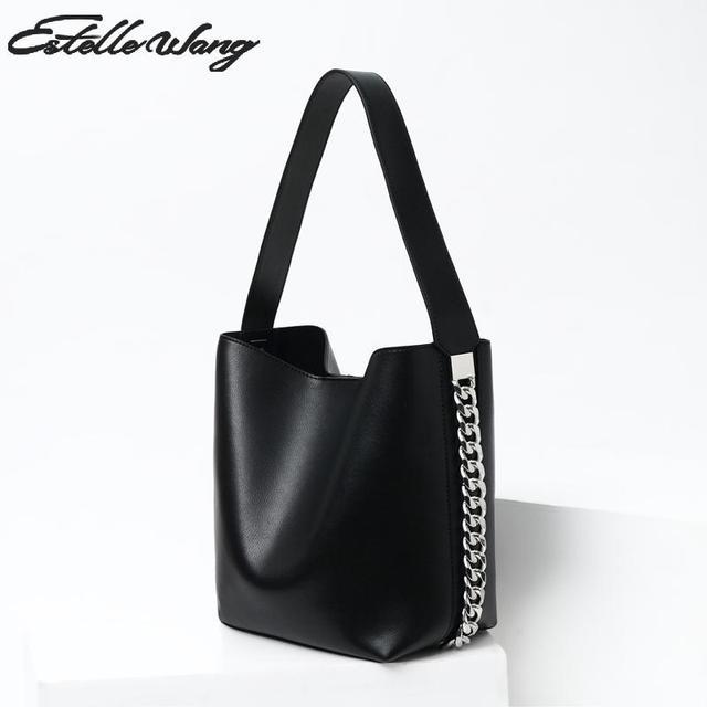 Estelle Wang Bucket Handbag 2018 Fashion Wide Chain Shoulder Bags Women  Leather Capacity Handbags High Quality 04017fc8f3c9