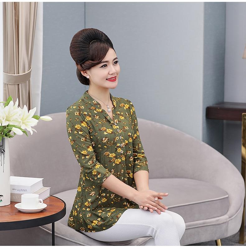 Women Flower Chiffon Blouses Three Quarter Sleeve Crepe Top Woman Peplum Tunic Red Green Print Shirt Plus Size Blouse Lady Shirt Spring (13)