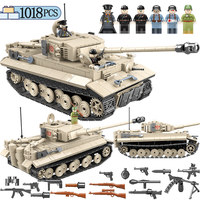 1018 Pcs Military German King Tiger 131 Tank Building Blocks legoing Army WW2 city police Soldier Weapon Bricks Toys for Boys