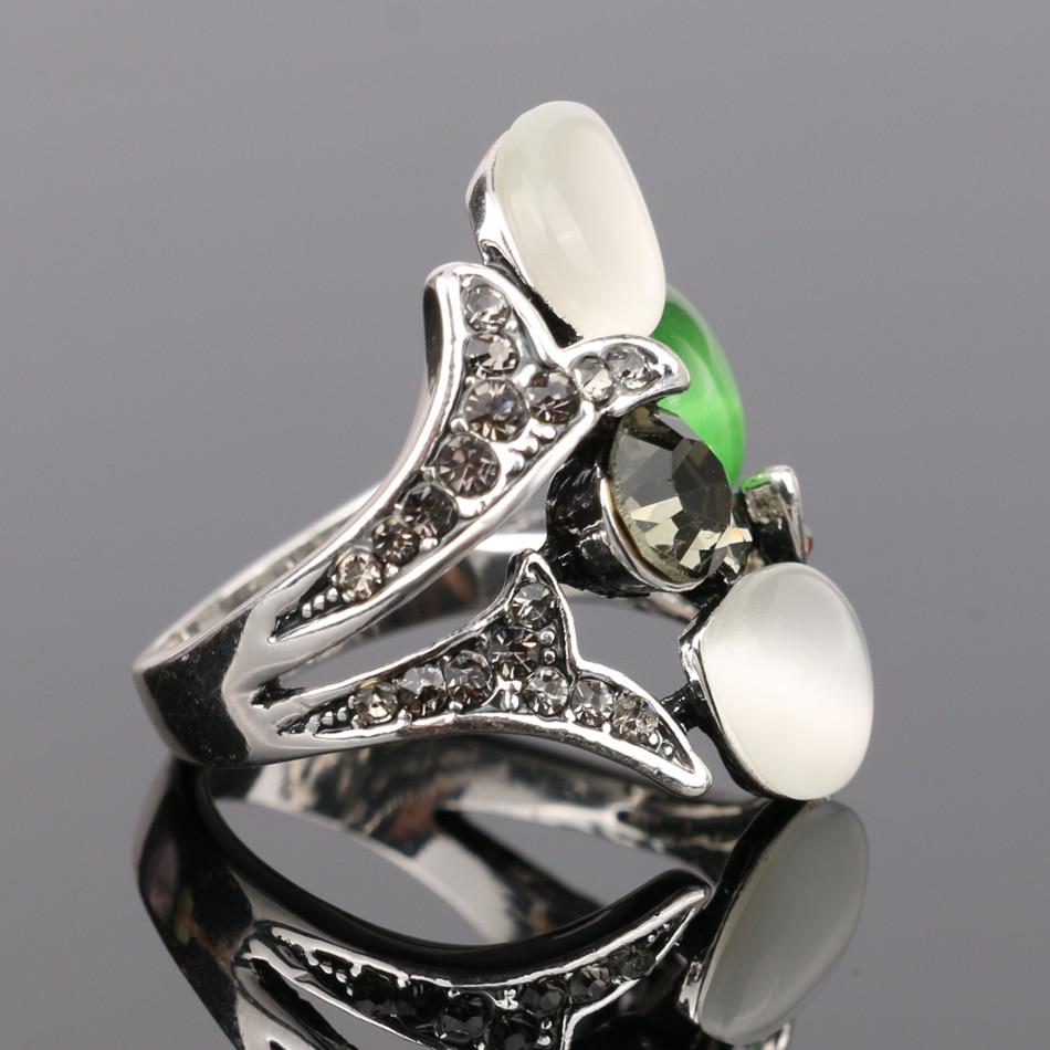 Kinel Vintage Kristall Anel Schmuck Opale Eheringe für Frauen Silber - Modeschmuck - Foto 4