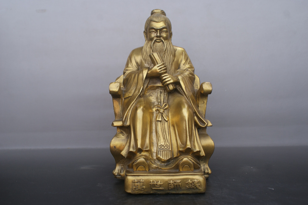 Chinese old bronzes Confucius copper StatueChinese old bronzes Confucius copper Statue