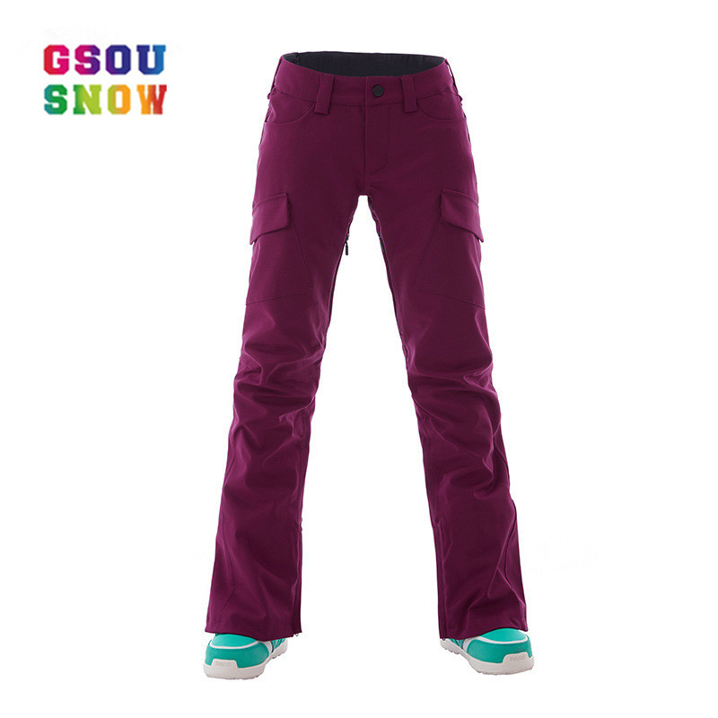 GSOU SNOW Brand Winproof Ski Pants Female Snowboard Ski Trousers High Quality Breathable Outdoor Winter Skiing Snow Pants