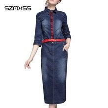 Elegant Office Lady Summer Denim Dress 2017 New Slim Striped Package Hip Dress Turn-Down Collar Robe Femme Jeans Long Vestidos