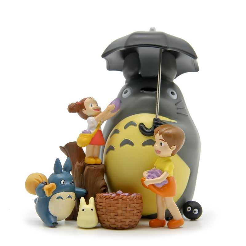 8pcs/lot DIY Studio Ghibli Neighbor Totoro Satsuki Mei Toys PVC Umbrella Totoro Action Figure Model Toy For Kids Gift Home Decor