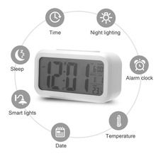 Home Smart Temperature Mute Backlight Electronic Digital Alarm Clock LED Snooze Table Wake Up Decor