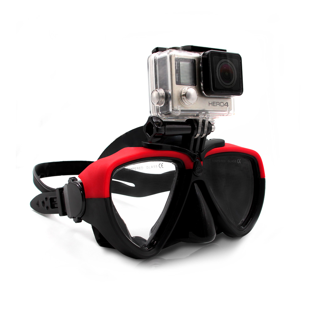 TELESIN Clear Tempered Glass Diving Mask Silicon Scuba Swimming Glasses Snorkel Goggles for GoPro Xiaomi yi