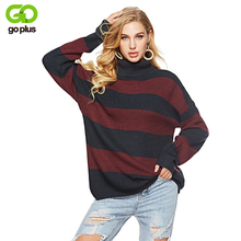 GOPLUS Striped Knitted Long Sweater Women Turtleneck Sleeve Loose Pullover 2019 Winter Fashion Casual Befree Female