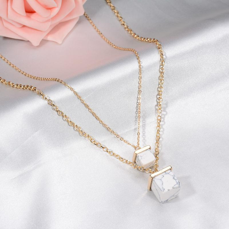 Double Layer Gold Chain Simple Square Imitation Marble Stone ...