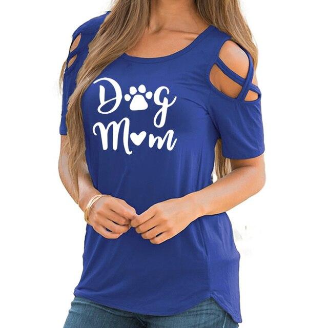 2019 New Fashion Dog Mom Print Tshirt Casual Short Sleeve Plus Size T-Shirt Female Cotton Cute Tops for Woman 2