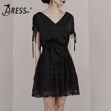 INDRESSME 2019 New V Neckline Short Sleeves Lace up Detailing Bow Tie Lace Skater Mini Dress Little Black Dress