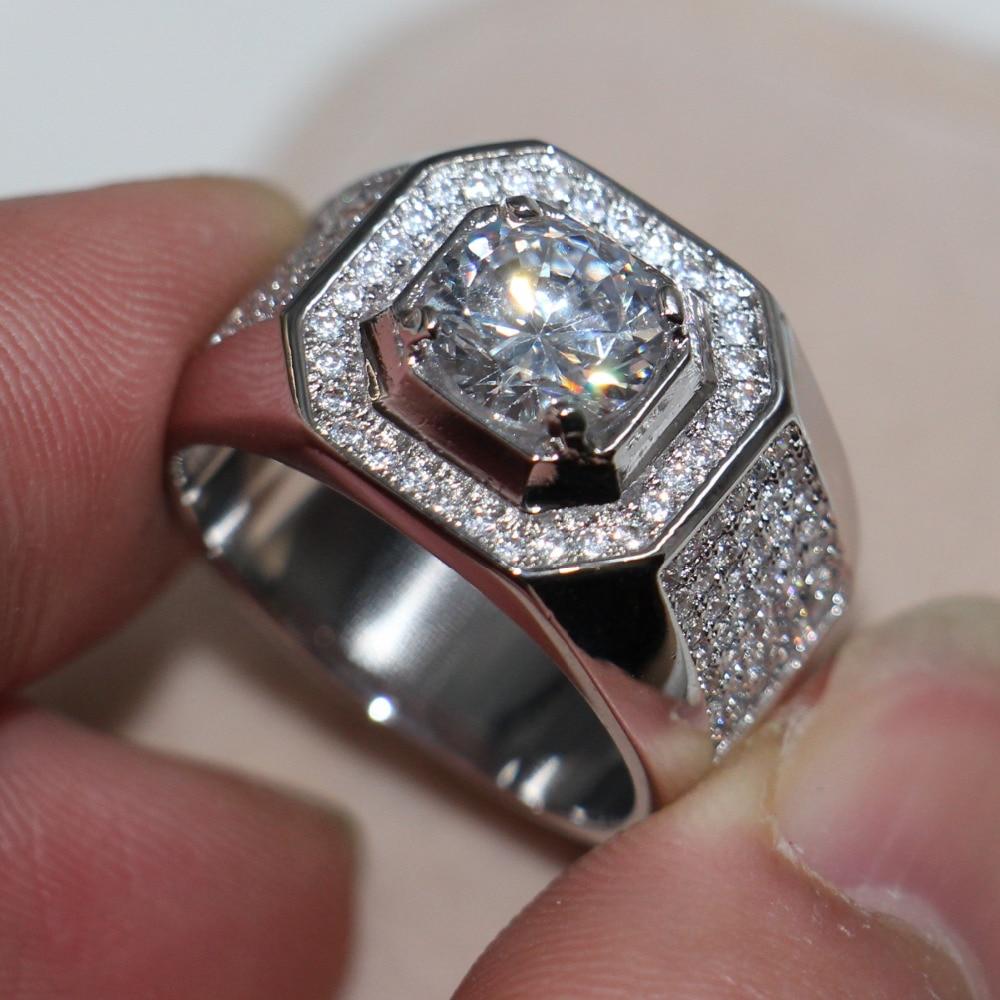 Men S Wedding Rings Diamontrigue Jewelry: New Jewelry Men Solitaire 8mm Stone 5A Zircon Birthstone