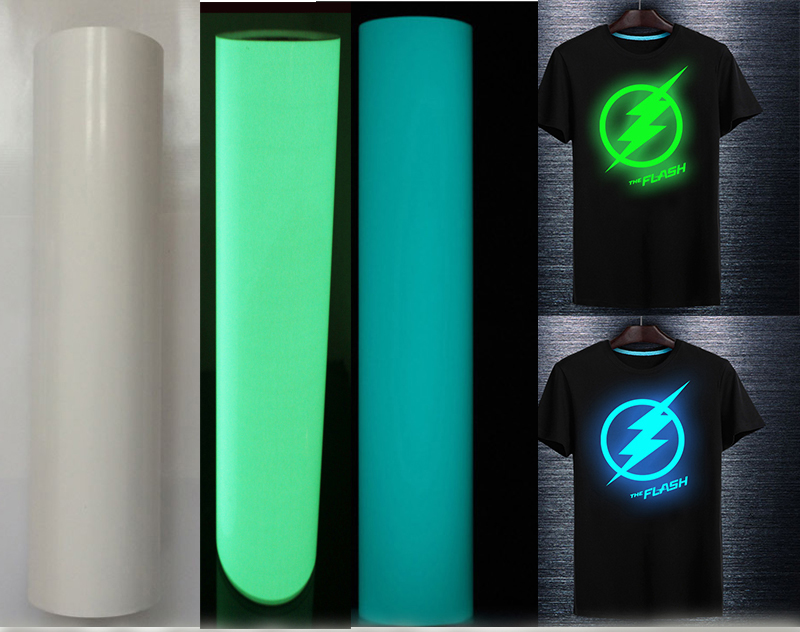 Glow in the dark High Quality Photoluminescent Heat Transfer Vinyl For Clothing free shipping DIY luminouse logo clothes Проектор