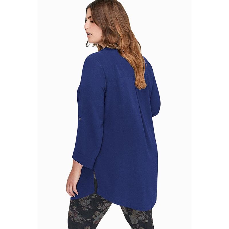 Top blue Mujer Ropa Black Tamaño Plus Para Señoras Primavera Otoño Ocasionales Blusas Gasa 2019 Sebowel Camisas De Gran Chiffon Blusa FHaUqqfw