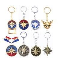 Wholesale 20pcs Captain Marvel Keychain Avengers Carol Danvers Shield Key Chains Women Men Badge Keyring Jewelry