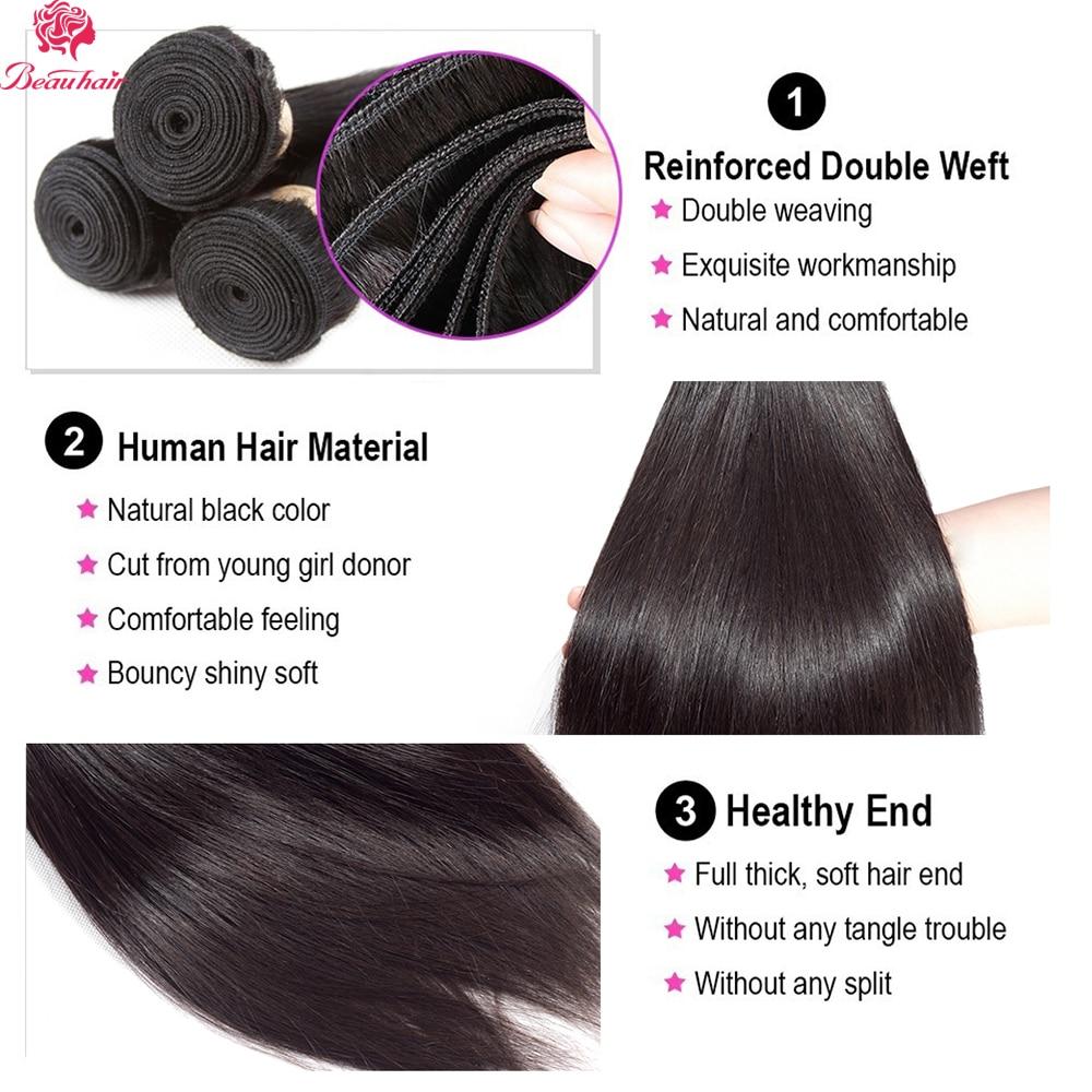 Beau Human Hair Bundles Dengan Penutupan Renda Frontal Malaysia - Pasokan kecantikan - Foto 3