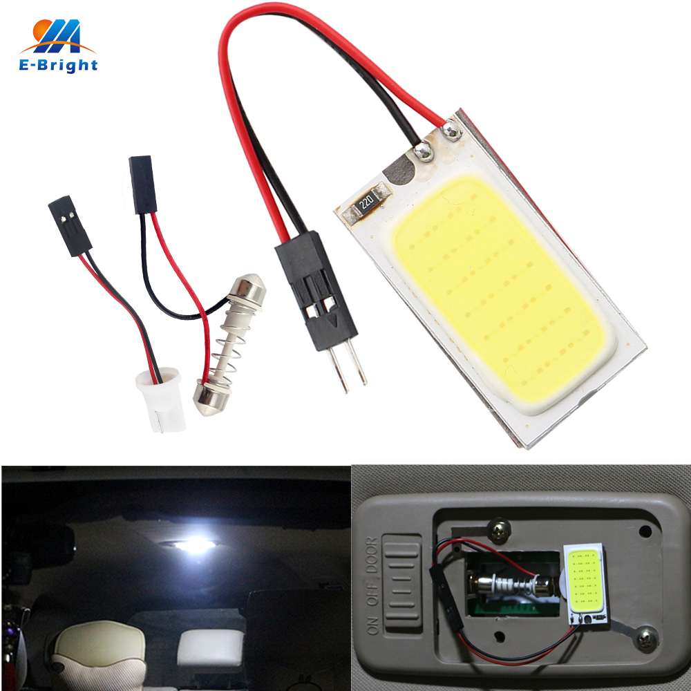 YM E Bright 300X COB 21 SMD 12V With Festoon T10 Adapters Cool Pure White Panel