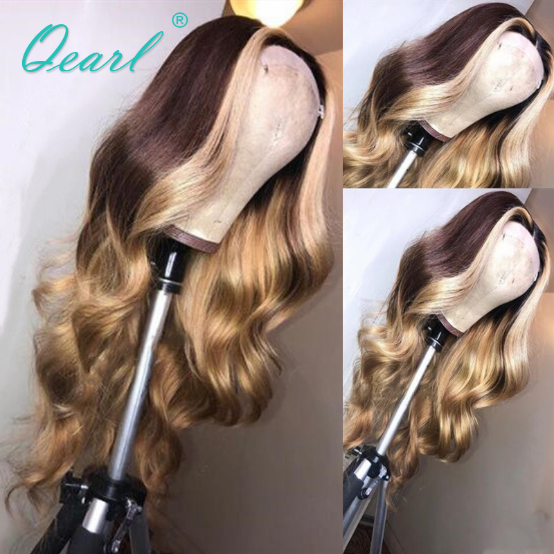 Ombre Medium Ash Brown Highlights Blonde Glueless Human Hair Lace Front Wig Remy Brazilian Wavy Hair 13x6 130% 180% Qearl