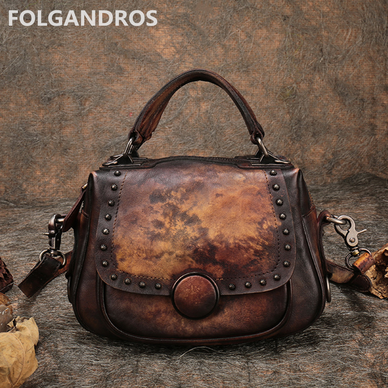 New Genuine Leather Women Handbag Designer Handmade Shoulder Bag Brand Cow Leather Messenger Crossbody Bag Circular Saddle Bolsa genuine leather handbag 2018 new shengdilu brand intellectual beauty women shoulder messenger bag bolsa feminina free shipping