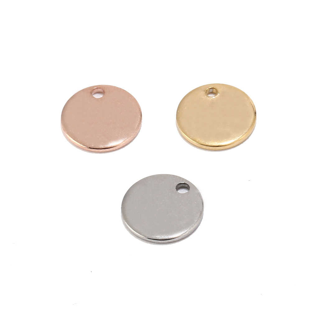 304 Stainless Steel Rose Gold Coin Disc Charm Round Stamping Blank Tags Metal Jewelry Making Supply 8mm/10mm