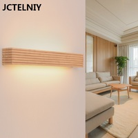 Wood led bathroom mirror light personalized japanese style bedside wall lamp