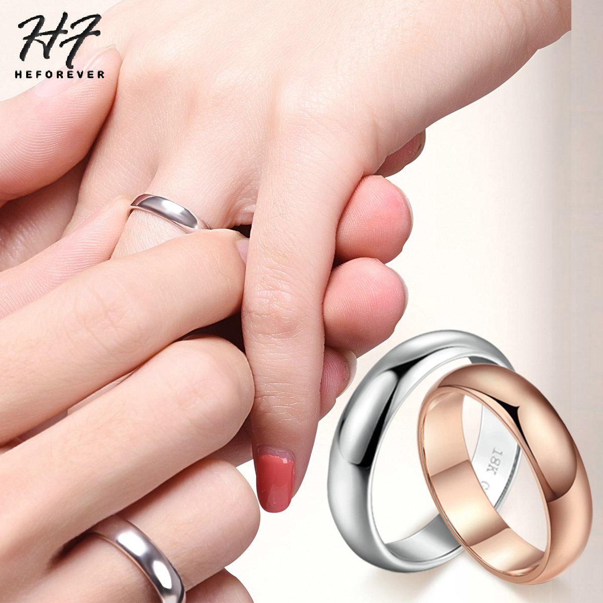Top Quality Classic Wedding Ring For Man And Woman Sliver Color Simple Round Fashion Jewelry HotSale Christmas Day Gift R049