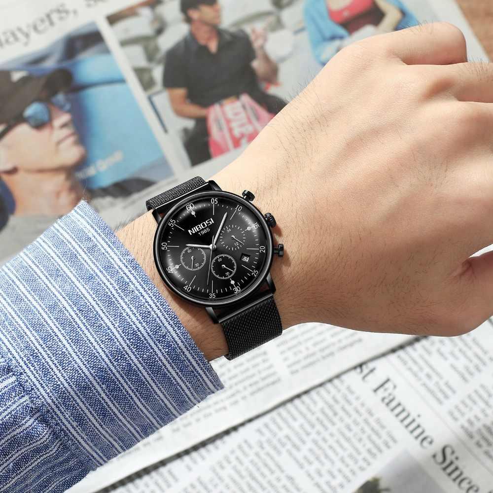 NIBOSI חדש שעונים דק שעון גברים יוקרה כחול נירוסטה שעון גברים עמיד למים Mens שעונים הכרונוגרף Relogio Masculino