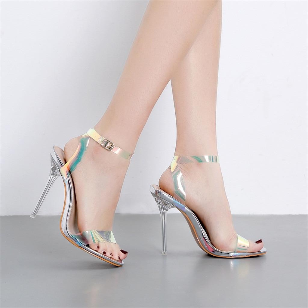 Schuhe Sandalen Gelee Sexy Typ Multi Mode Dünne Ein Schnalle Fersen Frauen 2019 Klare Rutschen Stap farbe Spitz Schwarzes Super Kappe silber Hohe TOqS8
