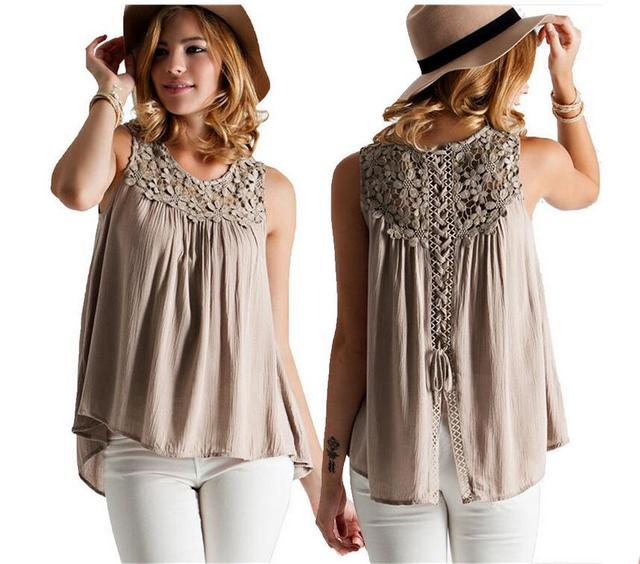Selling new cotton and linen stitching lace flower  sleeveless vest cool summer monsoon