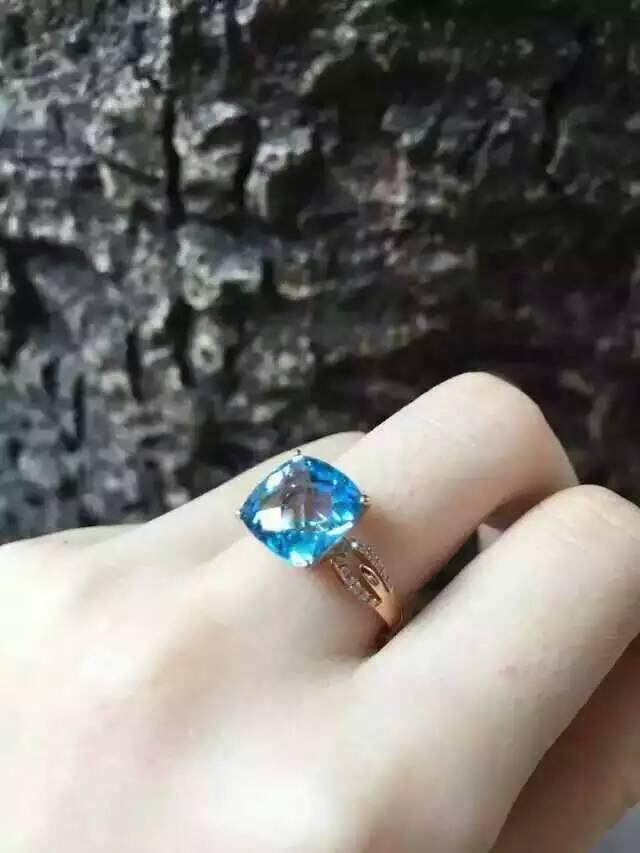 Natürliche blaue topas stein Natürlichen edelstein ring S925 sterling silber trendy Eleganten platz frauen party geschenk edlen Schmuck-in Ringe aus Schmuck und Accessoires bei  Gruppe 2