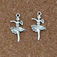 100pcs/lots Antique Silver Alloy Ballet dancer girl Charms pendants DIY Jewelry Fit Bracelets Necklace Earrings 14.5x27.5mm