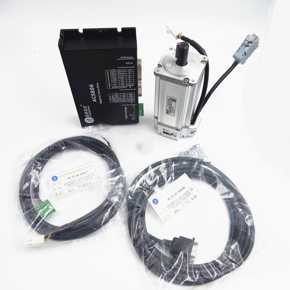 Leadshine 400W brushless AC Servo Drive And Motor ACS806 + ACM604V60-30-1000) New leadshine 200w brushless ac servo drive and motor kit acs806 acm602v60 2500 new