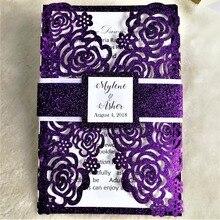 Горячая блестящая бумага лазерная резка Роза дизайн свадебные пригласительные карты с лентой и напечатанной внутренней бумагой