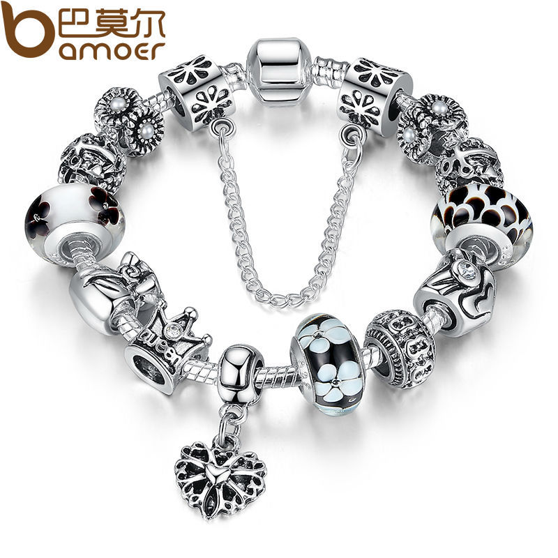 BAMOER Authentic Silver Heart Charm Bracelet with Safety Chain for Women Original Jewelry PA1865