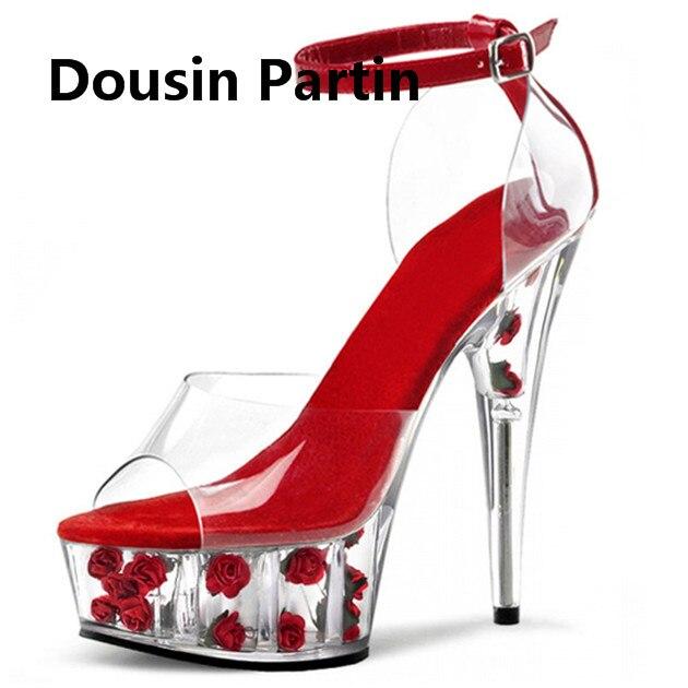 اليدوية خنجر جديد أحذية أنيقة صناديل للنساء ارتفع داخل PVC رقيقة كعب الكاحل مشبك خليط عالية الكعب الزفاف الأحذية-في كعب عالي من أحذية على  مجموعة 1