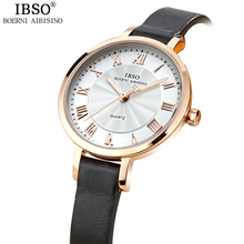 IBSO Top Brand Quartz Watch Women Relojes Mujer Waterproof Montre Femme Fashion Women Watches 2017 Genuine Leather Strap