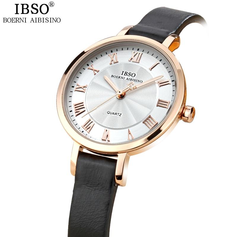 IBSO Nejlépe hodnocené hodinky Quartz Ženy Relojes Mujer Vodotěsné Montre Femme Fashion Dámské hodinky 2018 Originální kožený řemínek