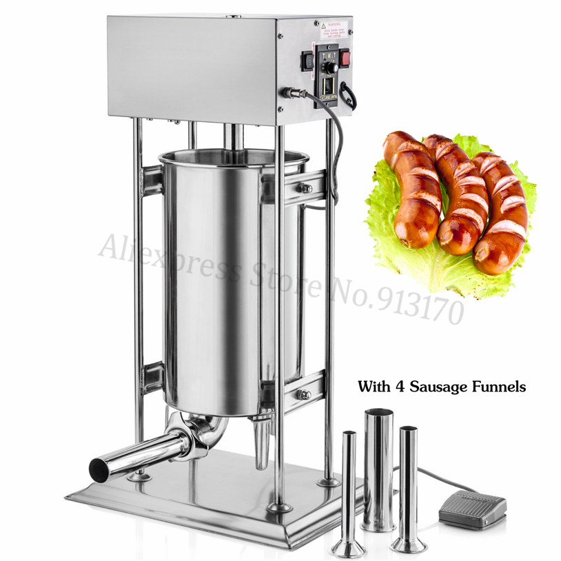 Automatic Stainless Steel Sausage Stuffer Meat Sausage Filling Machine Filler Electric Vertical 10L Spanish Churros Maker