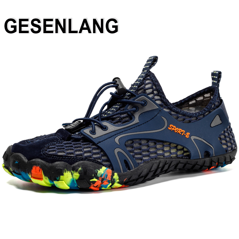 Men Barefoot Fiver Fingers Aqua Shoes Big Size Male Breathable Quick Drying Outdoor Trail Hiking Camping Walking Beach Shoes New in Upstream Shoes from Sports Entertainment