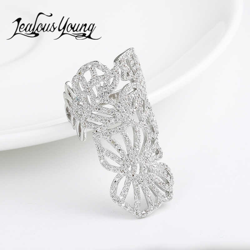 Luxury Flower Shape Adjustable Rings Inlay AAA Cubic Zircon Fashion Party Cuff Ring For Women Jewelry AR129