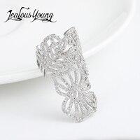 טבעות מתכוונן צורת פרח יוקרה שיבוץ זירקון מעוקב AAA קאף טבעת לתכשיטי נשים מסיבת אופנה AR129