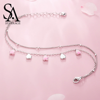 SA SILVERAGE S925 Sterling Silver Cherry Blossom Petal Bracelets Bangles for Women Female Simple Bracelet Jewelery Party Gifts