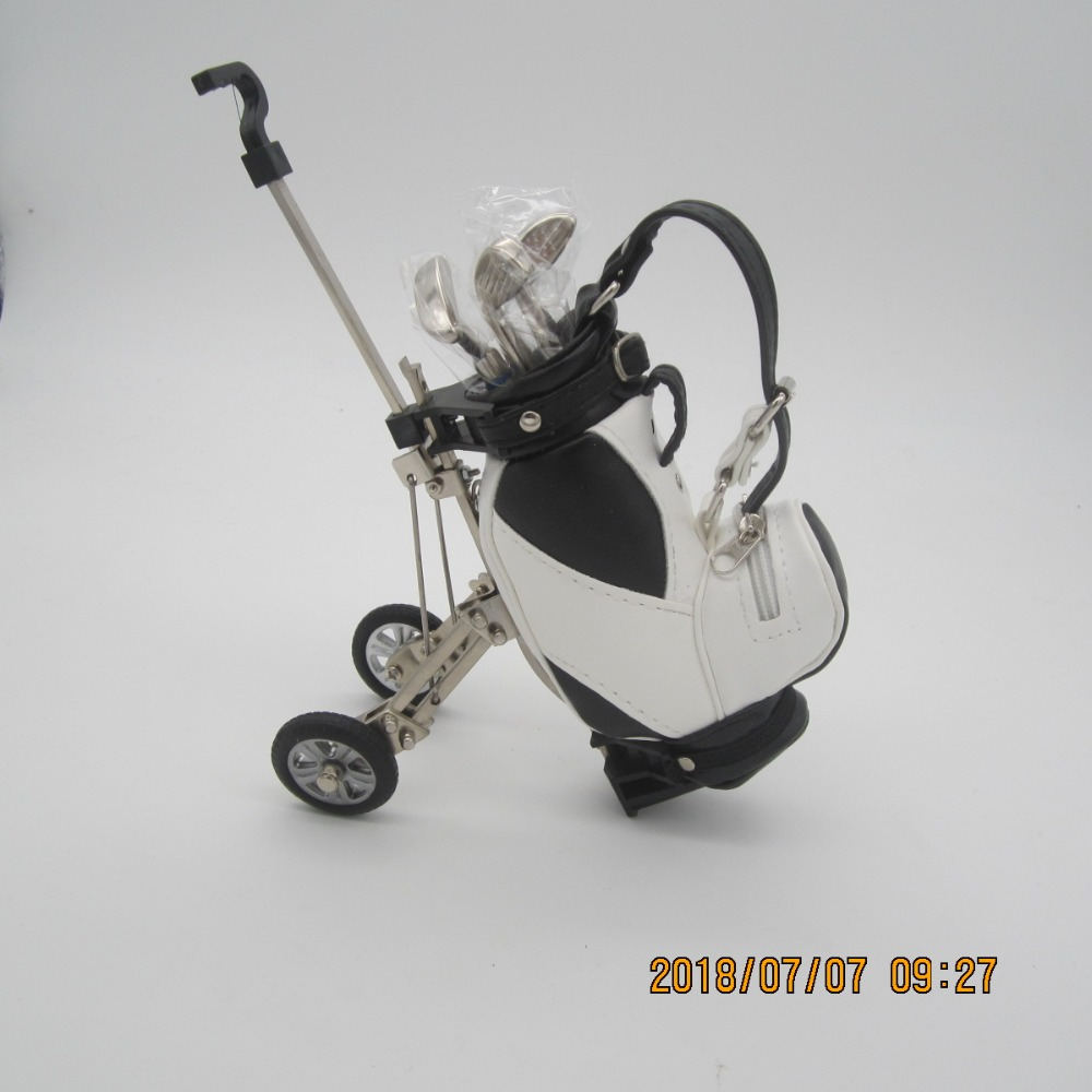 Desktop Gift Golf Caddy Cart Pens Holder With 3 Pc Pens