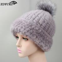 2016 New Arrival Women S Winter Hats Knitted Beanie With Fox Fur Ball Women Customized Headgear
